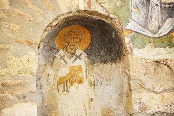 The painting on wall in church of St. Nicholas at Myra, Turkey