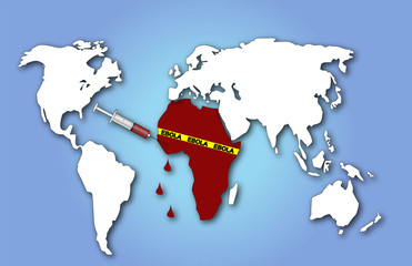 Ebola world map with injection and bleeding