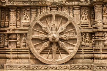 A chariot wheel at the sun temple at Konark.