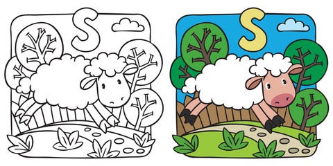Little sheep coloring book. Alphabet S