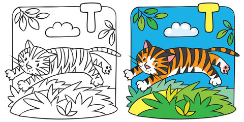Little tiger coloring book. Alphabet T