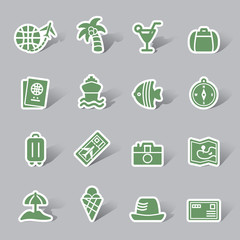 Travel and Vacation Color Icon Label