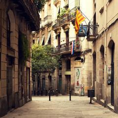 Street in gothic quarter in Barcelona.