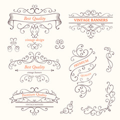 Vector Illustration of Ornate Frames and Scroll Design Elements