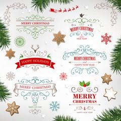 Vector Illustration of Christmas Design Elements