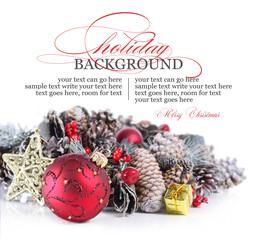 Christmas or holiday background with red ornament and garland