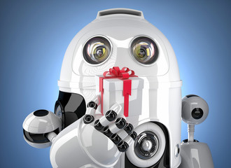 Robot with tiny gift box. Contains clipping path
