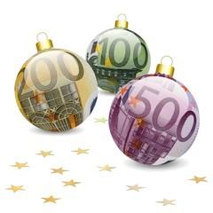 Boules de noël 100, 200, 500 € avec étoiles