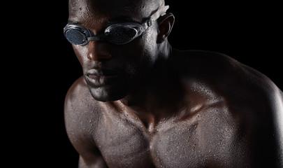 Swimmer focusing on training