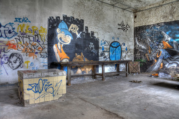 abandoned table in an textil factory