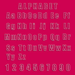 Collection vector alphabet and numbers
