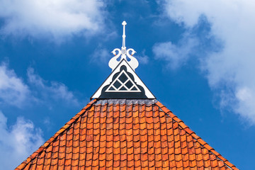 Detail of the roof of an ancient Dutch farm