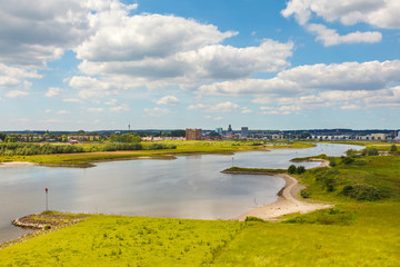 The Dutch city of Arnhem with the Nederrijn in front