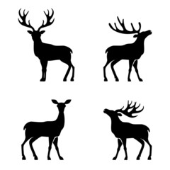 Deer collection - vector silhouette