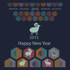 sheep decorative stylized on geometric background of hexagons