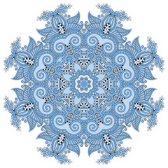 blue colour circular pattern of arabesques, floral round