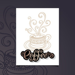 Vector Banner with Decorative Cup of Coffee with Steam. Coffee D