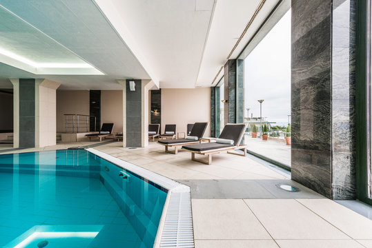 Luxury swimming pool modern hotel