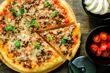 pizza with meat, mozzarella and oregano