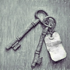 vintage keys  - illustration based on own photo image