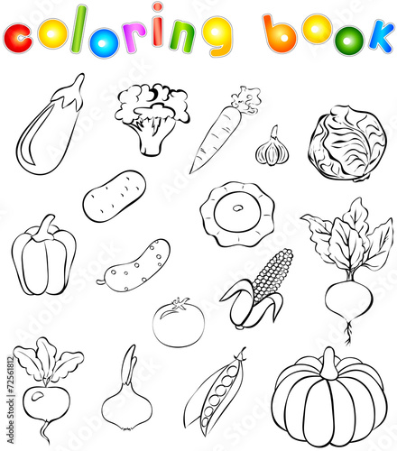 Set of vegetables coloring book\