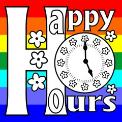 Happy hours billboard with clock face on a rainbow background