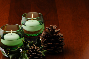 Holiday Table Decoration Candles Pine Cones Holly