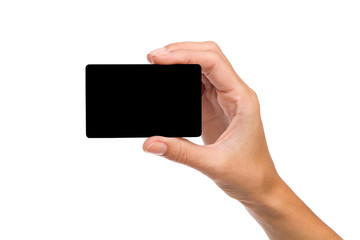 Black card in woman's hand