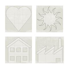 Four icons, heart, sun, house, factory