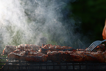 grilled meat skewers, barbecue