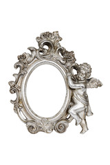 Oval baroque silver picture frame with cupid, clipping path.