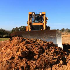 Wall Mural - bulldozer en action chantier de terrassement