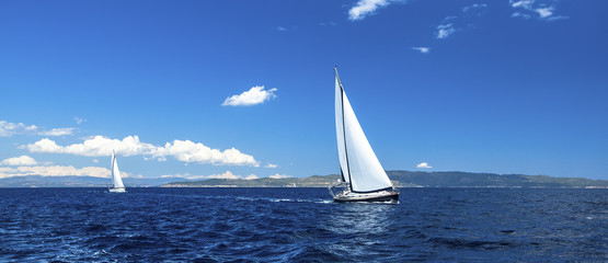 Fototapete - Panorama of sailing regatta. Luxury yachts.