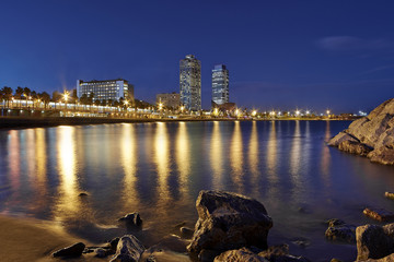 Barcelona beach at dusk