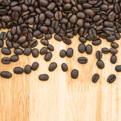Coffee bean on plank