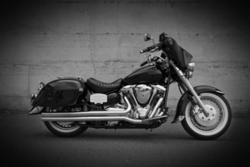 Black Motorcycle with Saddle Bags