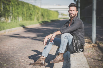 Obraz young handsome attractive bearded model man - fototapety do salonu