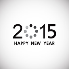 happy new year 2015 with loading icon in white screen background