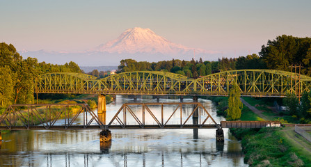 Railroad Car Bridges Puyallup River Mt. Rainier Washington