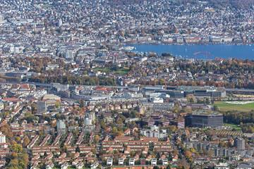 Zurich - view from Mount Uetliberg in autumn