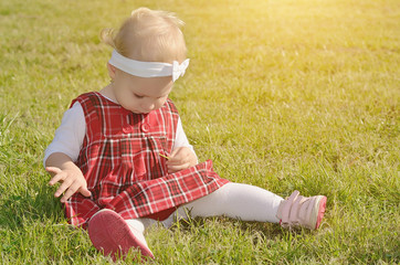 Toddler girl on the field