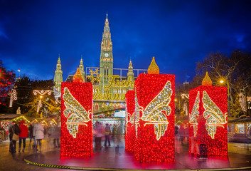 Aluminium Prints Vienna Rathaus and Christmas market in Vienna