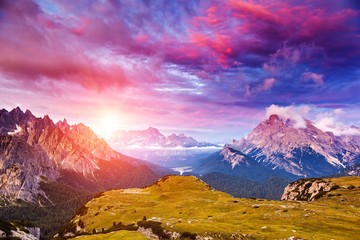 Wall Mural - Amazing sunset in the mountains