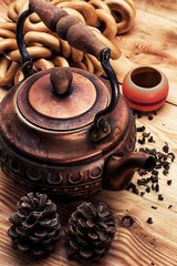 copper old tea-pot and accessories