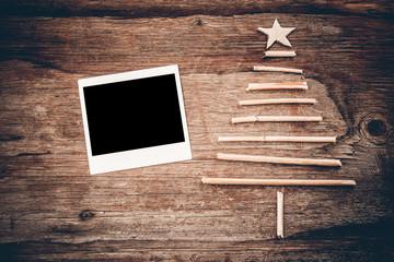 Christmas tree  polaroid photo vintage wood