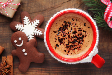 Good morning Christmas concept - red cup of coffee and cookies