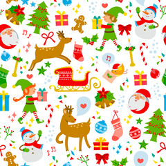 seamless pattern with cute Christmas symbols