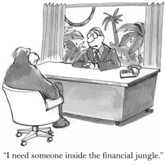 """I need someone inside the financial jungle."""