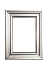 Silver picture frame isolated on white background with clipping