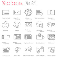seo icons set part 1. line design modern vector illustration
